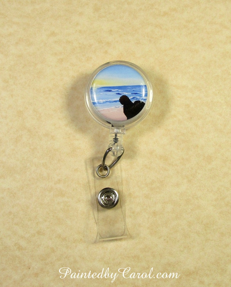 Old English Sheepdog Badge Reel OES Silhouette on Beach image 0