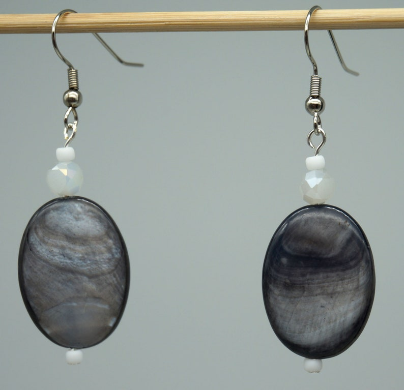 1.5 inch drop length Deep Ocean Ice Maiden Mother of Pearl /& Frosted Ice Earrings