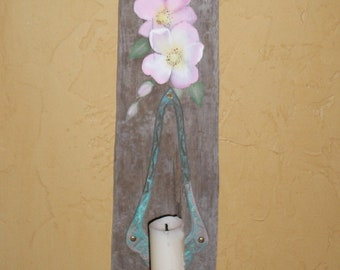 Beach Cottage Driftwood Candle Sconce / Hand Painted Pink Wild Roses / Reclaimed Wood / UpstairsAtAliceAnns