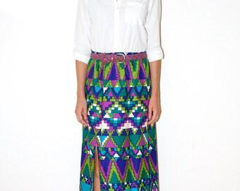 Vintage 60s Maxi Skirt Op Art Geometric Bold Print Psychedelic Kaleidoscope Purple Green Turquoise Sz Large
