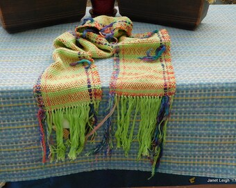 Lime and Orange Heavy Hand Woven Scarf