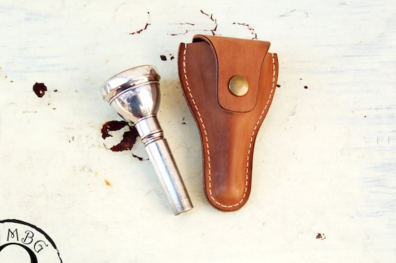 New mouthpiece case-brass accessories-mouthpiece pouch-musician gifts Personalized leather mouthpiece holder for trombone with Initials