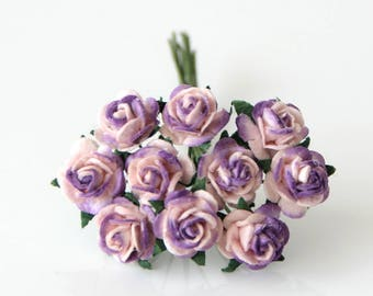 10 pcs - Pink & Lilac mulberry paper 1 cm roses