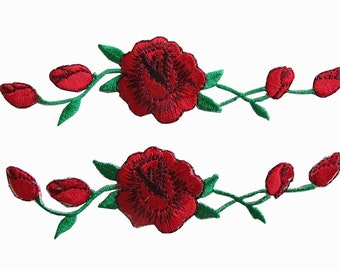 d6d71356d090cf Pair of red rose patches - Embroidered Applique Iron On for Vans