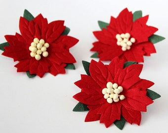 20 pcs - Red large poinsettia flowers / handmade muberry paper flowers / wholesale pack