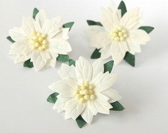 20 pcs - White large poinsettia flowers / handmade muberry paper flowers / wholesale pack