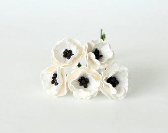 White poppy flowers etsy 50 pcs white poppy paper flowers wholesale pack mightylinksfo