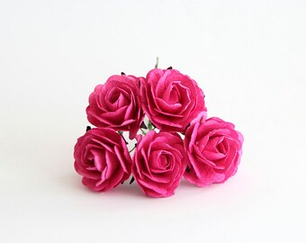 25 pcs - Hot pink mulberry paper big 4 cm roses / wholesale pack