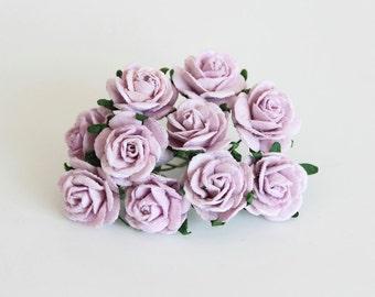 10 pcs - Lilac  mulberry paper 2 cm roses