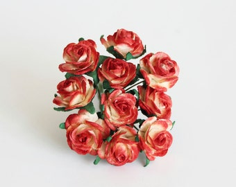 10 pcs - Red&yellow mulberry paper 2 cm roses