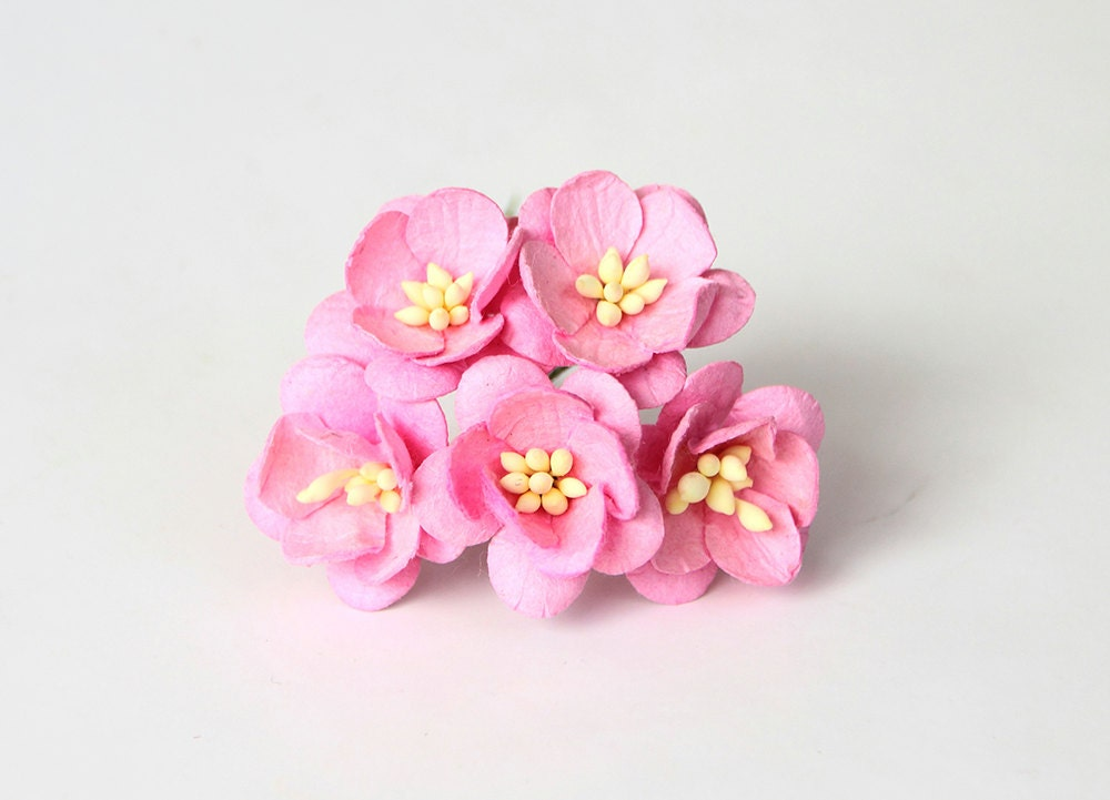 50 pcs pink cherry blossom paper flowers wholesale pack etsy zoom mightylinksfo