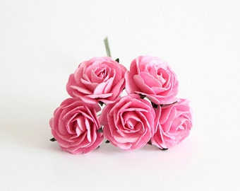 5 pcs - Pink mulberry paper big 4 cm roses