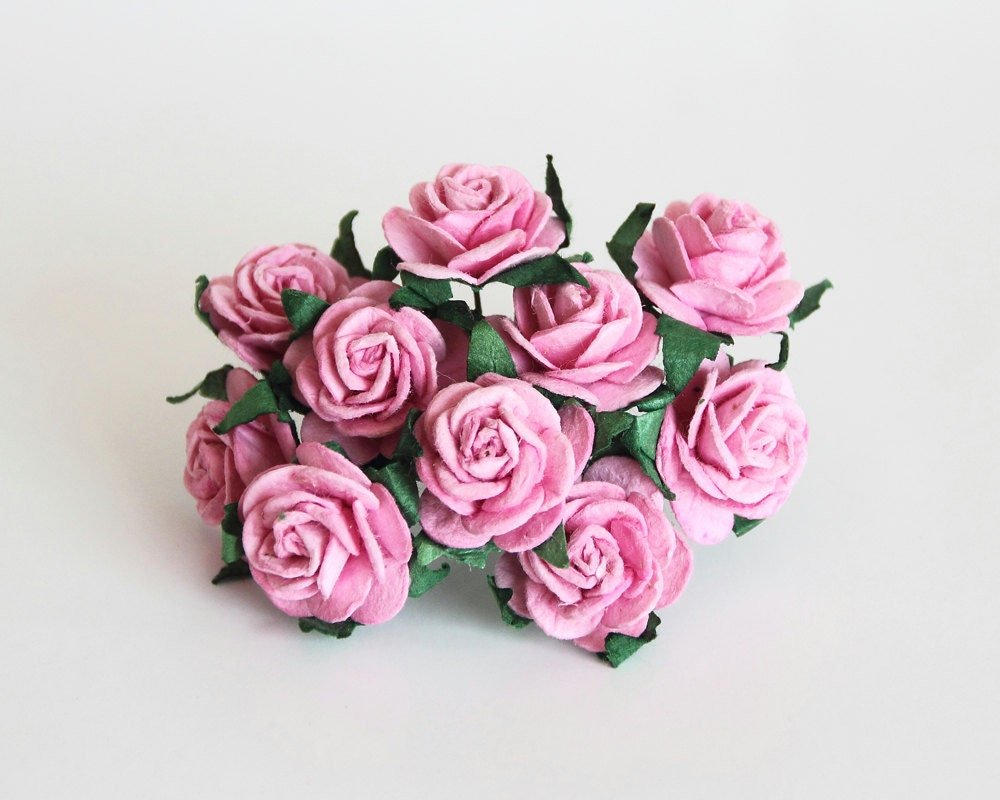 50 Pcs Pink Paper Rose 2cm Roses Mulberry Paper Roses Etsy