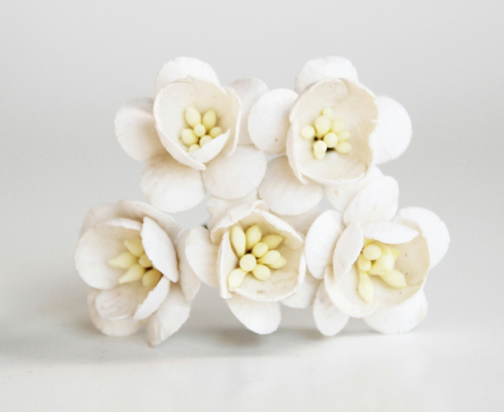 50 pcs white cherry blossom paper flowers wholesale pack etsy zoom mightylinksfo