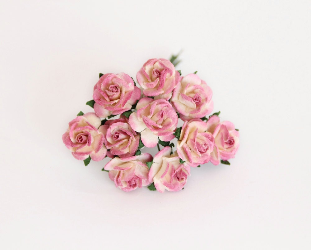 100 Pcs Berry And Cream Paper Rose 1cm Roses Mulberry Etsy