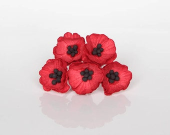 50 pcs - Red Poppy paper flowers - Wholesale pack