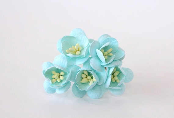 50 pcs turquoise cherry blossom paper flowers wholesale etsy image 0 mightylinksfo