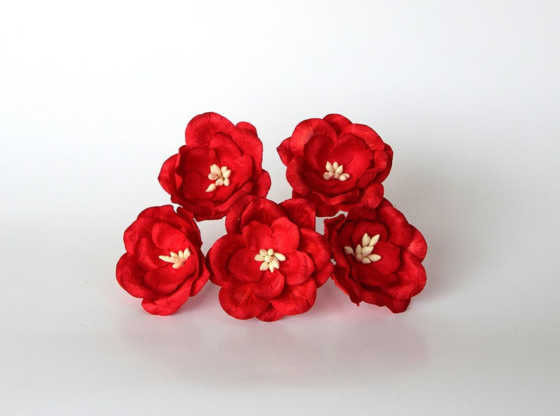 50 Pcs Red Magnolia Big Poppy Paper Flowers Wholesale Etsy