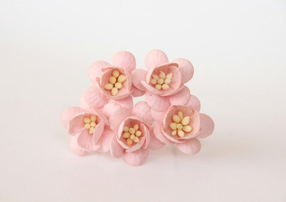 50 pcs peachy pink cherry blossom paper flowers wholesale etsy image 0 mightylinksfo