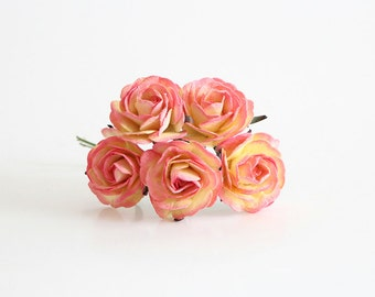 5 pcs - Yellow & pink mulberry paper BIG 4 cm ROSES