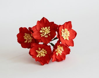 25 pcs - Red Poppy paper flowers - Wholesale pack