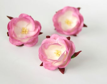 5 pcs - Pink and white mulberry paper SWAN ROSES