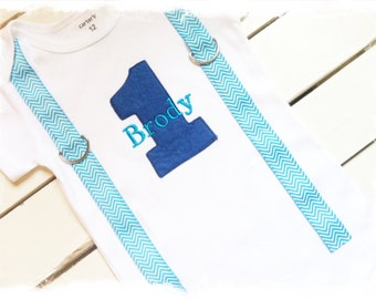 BOYS FIRST BIRTHDAY Outfit-Boys Birthday Bodysuit with Royal Blue 1, Turquoise Chevron Suspenders and Name-Cake Smash Set-Photo Prop