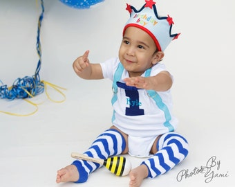 BOYS FIRST BIRTHDAY Outfit-Boys Birthday Bodysuit with Royal Blue 1, aqua suspenders with Royal Blue and white chevron crawlers(opt)