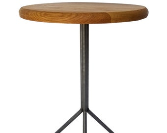 Round End Table Round Accent Table Round Table Industrial Round Accent Table  Round Table With Steel Base Round Modern Table Tiny Home Table