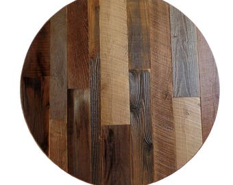 Round Table Top Made From Reclaimed Wood With Steel Banding Etsy
