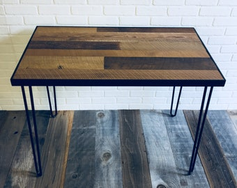 Reclaimed wood desk reclaimed wood table reclaimed console table reclaimed side table wood desk reclaimed desk side table hairpin legs