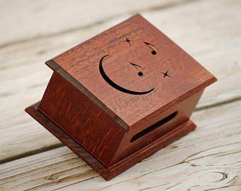 Moonlight music box musical moon star notes mahogany custom music wooden box with optional music