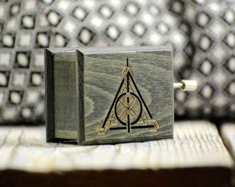 Harry Potter Deathly Hallows music box oil green handmade wooden music box