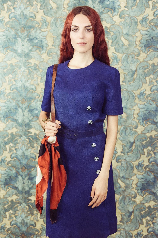 robe en lin bleu vintage taille moyenne grande robe de. Black Bedroom Furniture Sets. Home Design Ideas