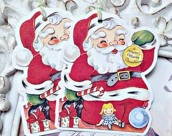 Vintage Santa Gift Tags (6) Christmas Favor Tag-Holiday Tags-Santa Embellishment-Christmas Tag-Santa Treat Tag-Gift Tags-Santa Die Cut-Retro