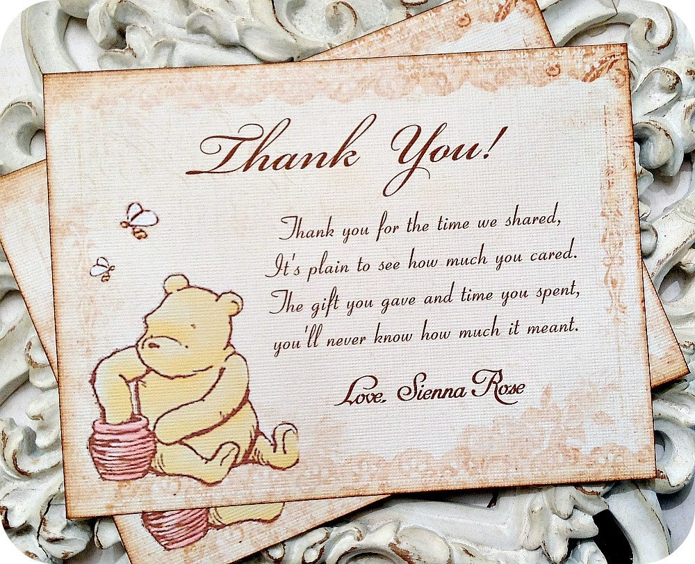 Classic Winnie the Pooh Thank You Card-Set of 10-Classic Pooh | Etsy