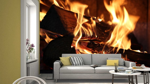 Fireplace Charcoal Bonfire Flames Photo Wallpaper Mural Home Poster Decoration