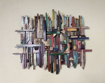 Wall Sculpture Wood art Assemblage Collage 017 by Pat Fitzgerald
