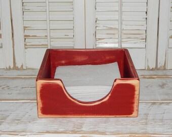 Distressed Napkin Holder Kitchen Table Decor Storage Napkin Wood Crate  Primitive Rustic Napkin Holder
