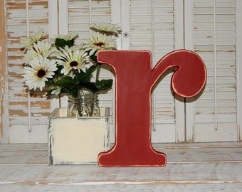 "Distressed Wooden Letter Lowercase r Wall Decor Wedding Decor Lowercase Wood Letters 12"" Tall Choose Letter & Color"