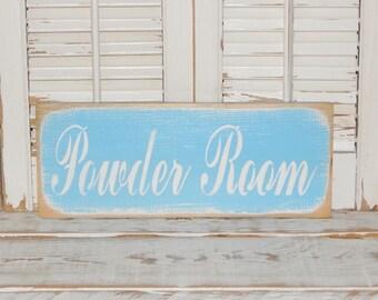 Bathroom Sign Powder Room Sign Distressed Bathroom Decor Country Decor Sign Ready To Ship
