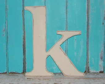 """Lowercase Wood Letters Distressed Wooden Letter k Wall Decor 14"""" - 16"""" Tall"""