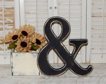 """Wooden Ampersand Sign 12"""" Tall Distressed Made To order Photo Props Ampersand Wall Decor"""