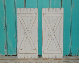 Distressed Wooden Shutters Set Of 2 Panels Interior Rustic Shutters Rustic  Decor Primitive Decor Wall Accents