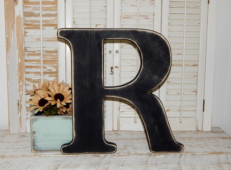 Large Wood Letter R Distressed 18 Inch Wood Letters Wall Letters Wedding Guestbook Choose Letter Color