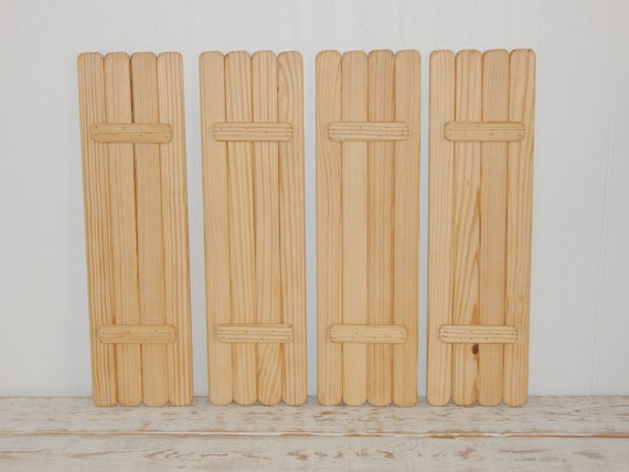 Unfinished Wooden Shutters Set 4 Panels Interior Natural Wood | Etsy