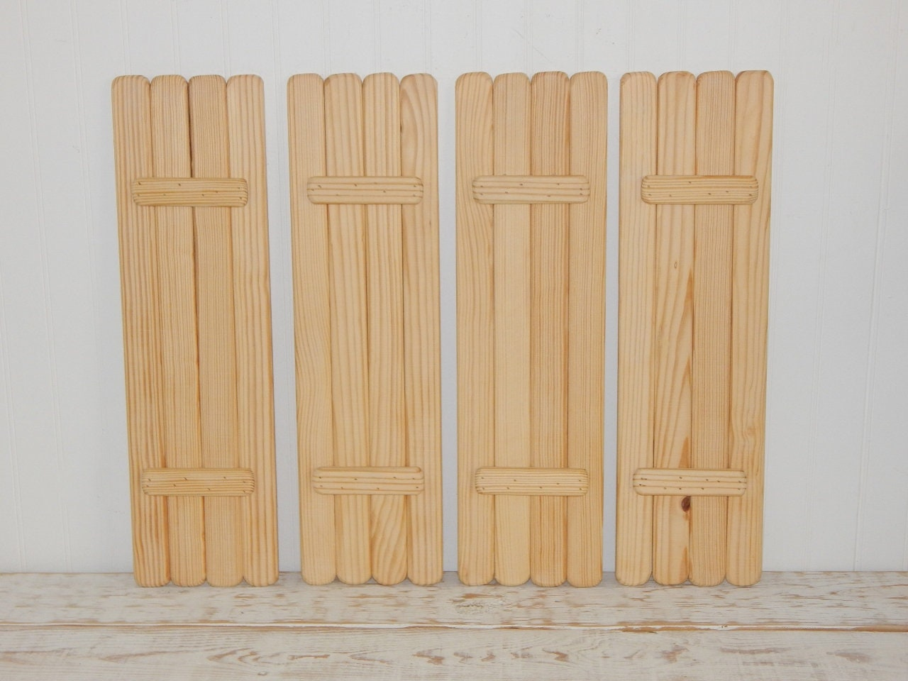 Unfinished wooden shutters set 4 panels 2 pairs interior - Unfinished wood shutters interior ...