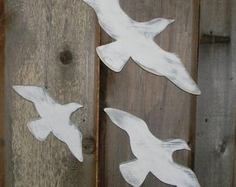 Seagulls Sign Wall Decor 3 Pc Set Beach Cottage Chic