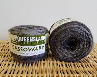 Wool Blend Sock Yarn, Gradient Sock Yarn, Cassowary by Queensland Collection, Graphite 01