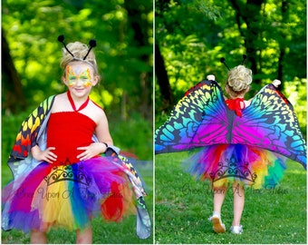 bright rainbow butterfly tutu dress 12 months little girls size 2t 3t 4 5 6 7 8 10 12 tween little kids girls halloween costume outfit